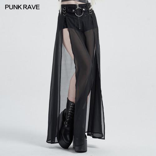 Punk Rave Black Mesh Skirt Shorts