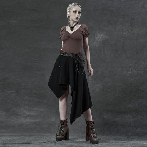 Punk Rave Uneven Hem Skirt