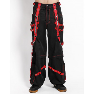 Chain and Zipper Bondage Pants - Red