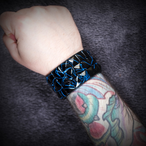 Blue-Streaked Black Studded Wristband
