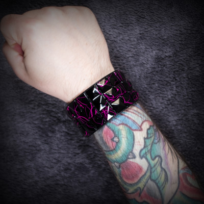 Pink-Streaked Black Studded Wristband