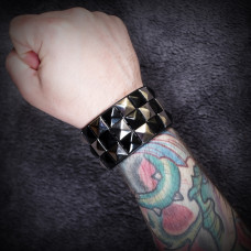 Silver and Black Checkered Wristband
