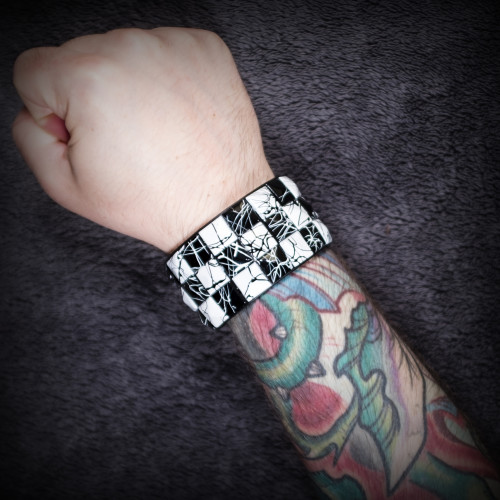Black and White Checkered Wristband