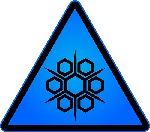 Cryogenic hazard symbol on blue background in hazard triangle